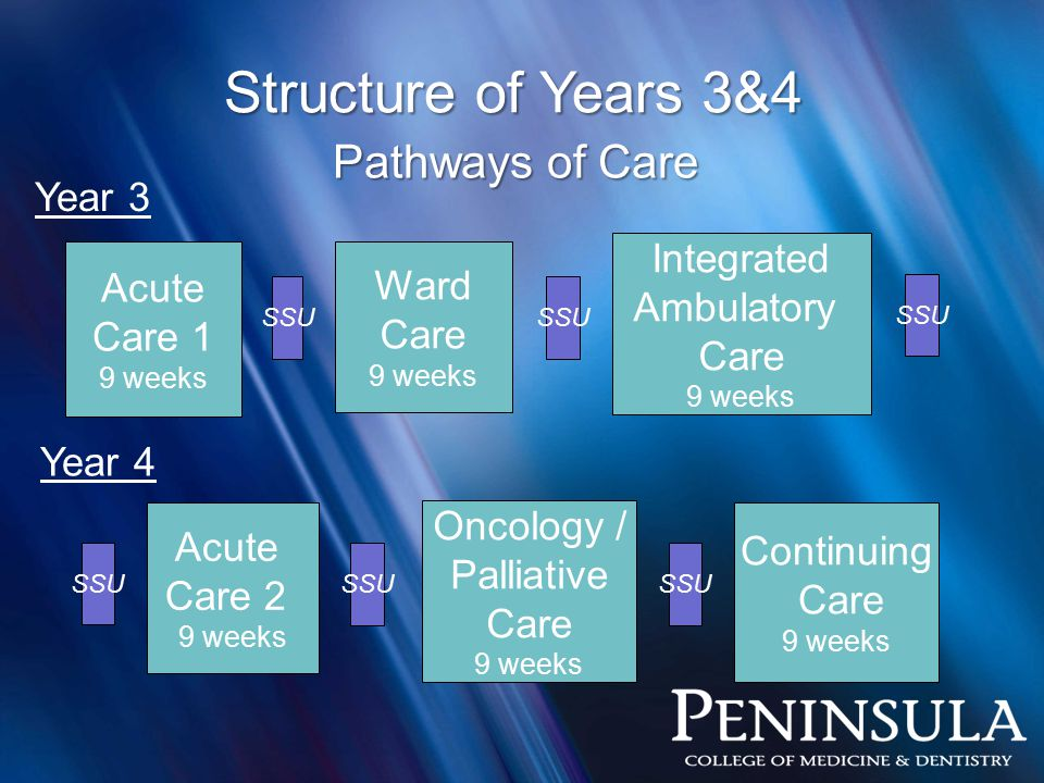 Structure of Years 3&4 Acute Care 1 9 weeks Acute Care 2 9 weeks Ward Care 9 weeks Oncology / Palliative Care 9 weeks Continuing Care 9 weeks Integrated Ambulatory Care 9 weeks Year 3 Year 4 Pathways of Care SSU