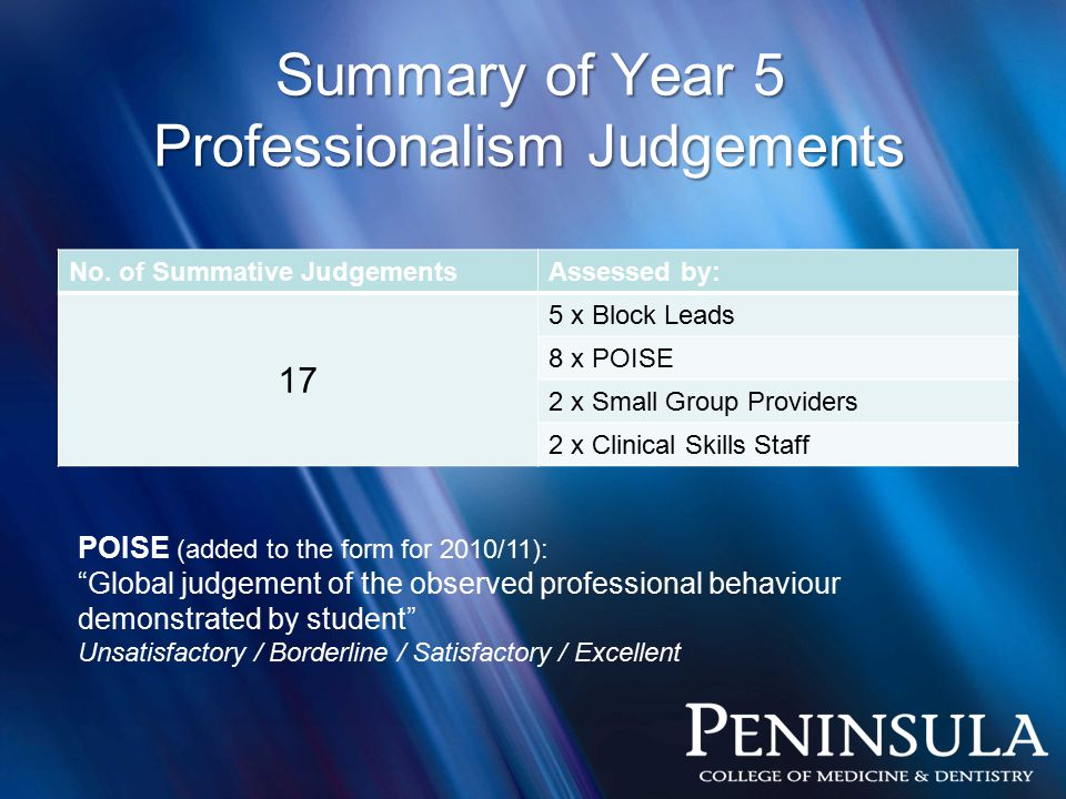 Summary of Year 5 Professionalism Judgements No.
