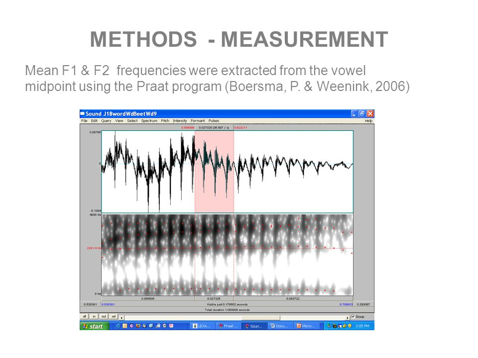 METHODS - MEASUREMENT Mean F1 & F2 frequencies were extracted from the vowel midpoint using the Praat program (Boersma, P.
