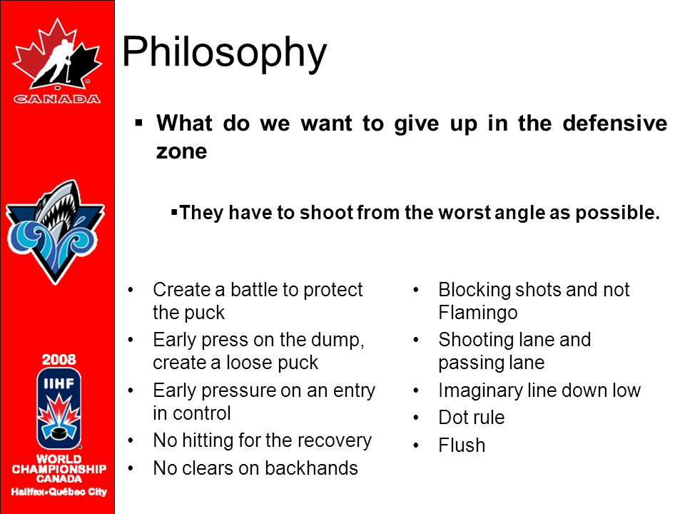 Philosophy  What do we want to give up in the defensive zone  They have to shoot from the worst angle as possible. Create a battle to protect the pu