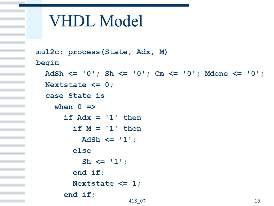 418_0716 VHDL Model mul2c: process(State, Adx, M) begin AdSh <= 0 ; Sh <= 0 ; Cm <= 0 ; Mdone <= 0 ; Nextstate <= 0; case State is when 0 => if Adx = 1 then if M = 1 then AdSh <= 1 ; else Sh <= 1 ; end if; Nextstate <= 1; end if;