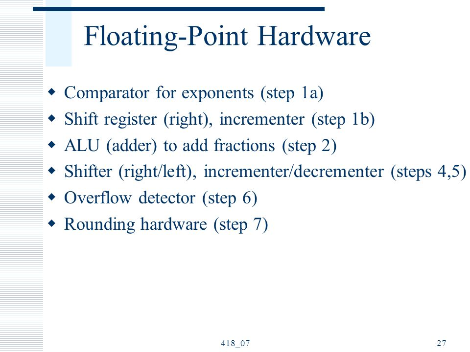 418_0727 Floating-Point Hardware  Comparator for exponents (step 1a)  Shift register (right), incrementer (step 1b)  ALU (adder) to add fractions (step 2)  Shifter (right/left), incrementer/decrementer (steps 4,5)  Overflow detector (step 6)  Rounding hardware (step 7)