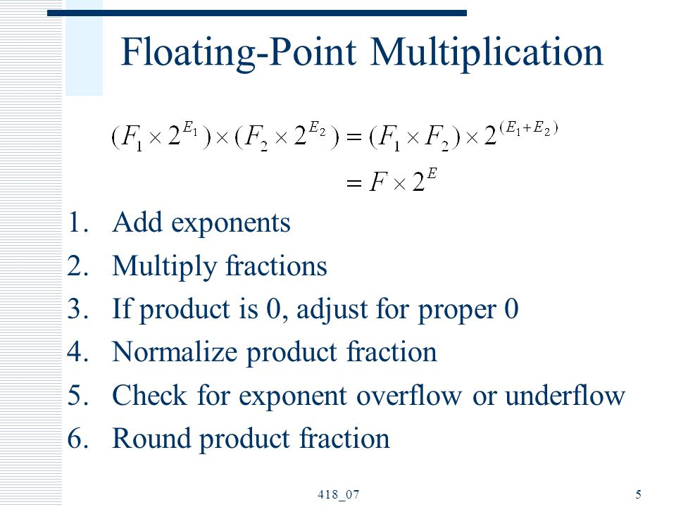 418_075 Floating-Point Multiplication 1.Add exponents 2.Multiply fractions 3.If product is 0, adjust for proper 0 4.Normalize product fraction 5.Check for exponent overflow or underflow 6.Round product fraction
