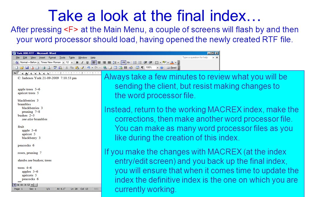 Take a look at the final index… After pressing at the Main Menu, a couple of screens will flash by and then your word processor should load, having opened the newly created RTF file.