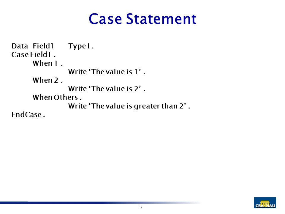 17 Case Statement DataField1Type I. Case Field1. When 1. Write 'The value is 1'. When 2. Write 'The value is 2'. When Others. Write 'The value is grea