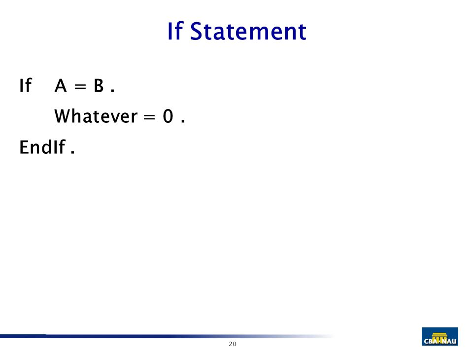 20 If Statement IfA = B. Whatever = 0. EndIf.