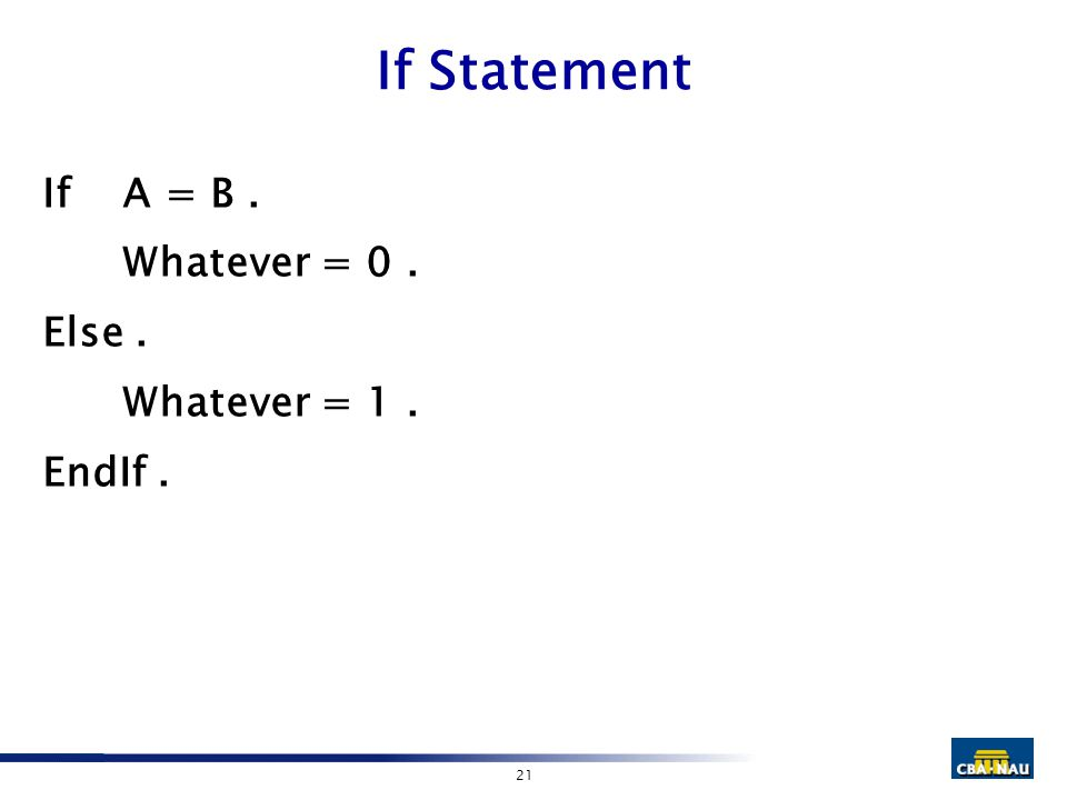 21 If Statement IfA = B. Whatever = 0. Else. Whatever = 1. EndIf.