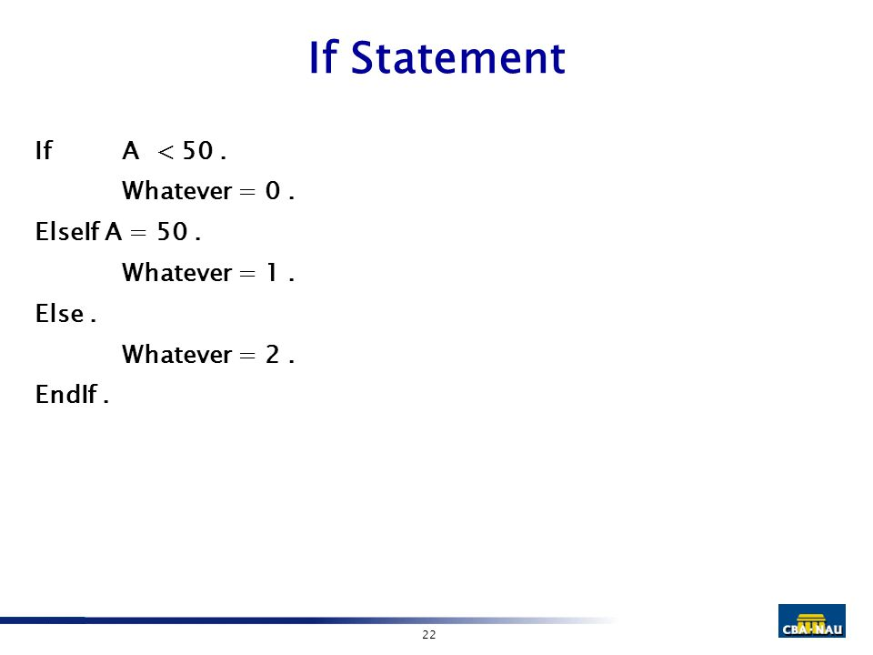 22 If Statement IfA < 50. Whatever = 0. ElseIf A = 50. Whatever = 1. Else. Whatever = 2. EndIf.