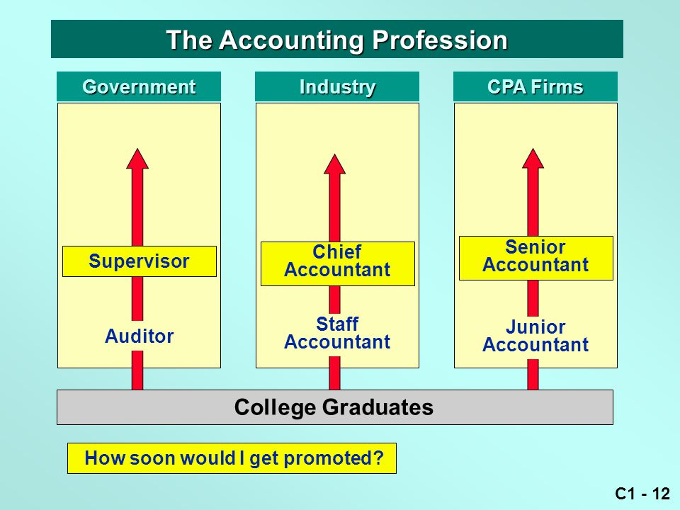 C1 - 12 GovernmentIndustry CPA Firms Staff Accountant Junior Accountant Auditor College Graduates How soon would I get promoted.
