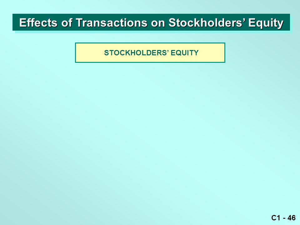 C1 - 46 STOCKHOLDERS' EQUITY Effects of Transactions on Stockholders' Equity
