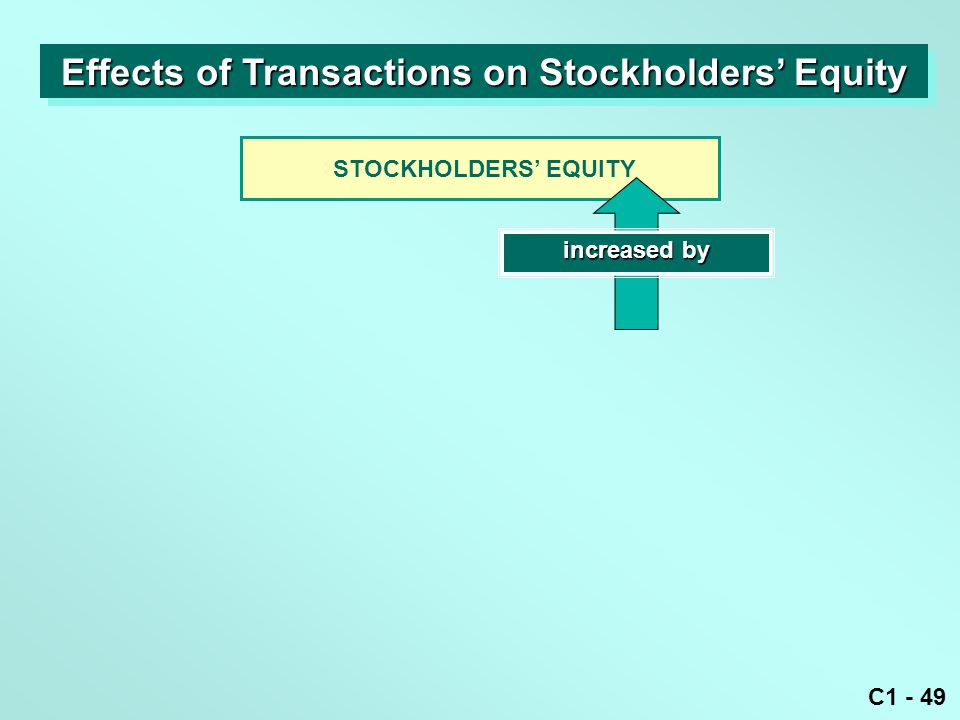 C1 - 49 STOCKHOLDERS' EQUITY increased by Effects of Transactions on Stockholders' Equity