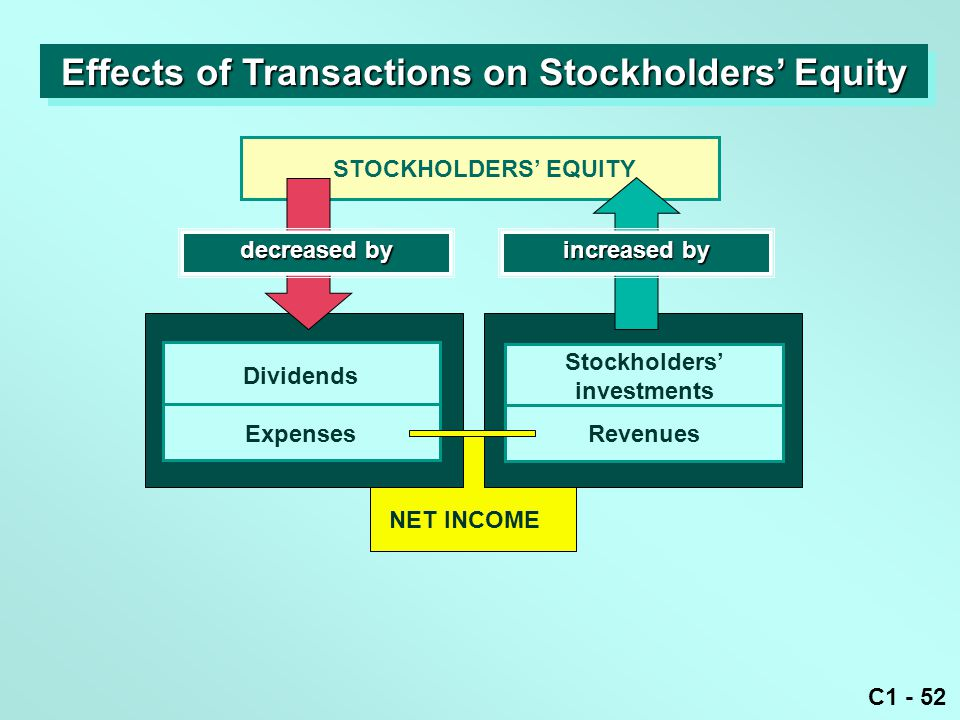 C1 - 52 STOCKHOLDERS' EQUITY decreased by increased by NET INCOME Dividends Expenses Stockholders' investments Revenues Effects of Transactions on Stockholders' Equity