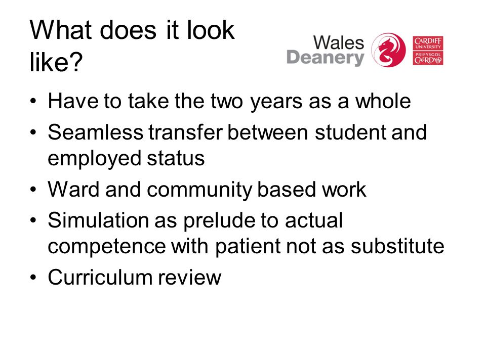 What does it look like? Have to take the two years as a whole Seamless transfer between student and employed status Ward and community based work Simu