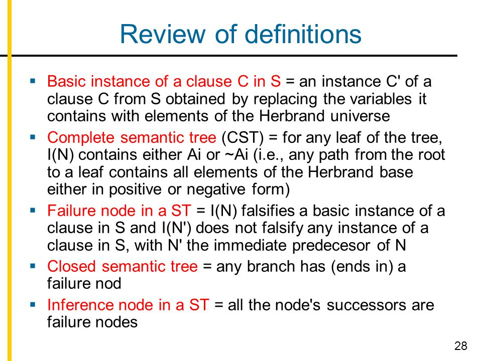 Review of definitions  Basic instance of a clause C in S = an instance C' of a clause C from S obtained by replacing the variables it contains with e