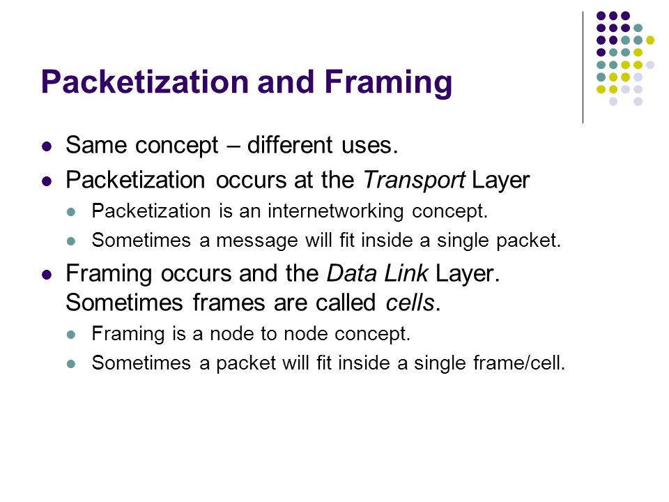 Packetization and Framing Same concept – different uses.