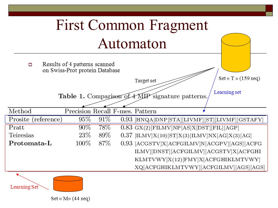 First Common Fragment Automaton  Results of 4 patterns scanned on Swiss-Prot protein Database Set « M» (44 seq) Learning Set Learning set Set « T » (159 seq) Target set