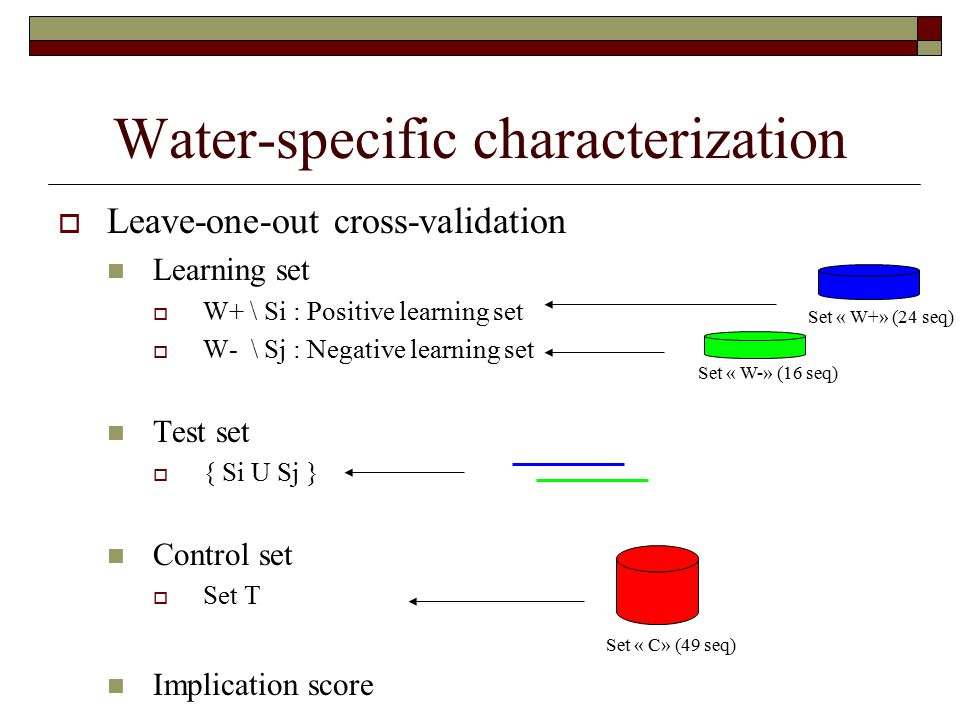 Water-specific characterization  Leave-one-out cross-validation Learning set  W+ \ Si : Positive learning set  W- \ Sj : Negative learning set Test set  { Si U Sj } Control set  Set T Implication score Set « W+» (24 seq) Set « W-» (16 seq) Set « C» (49 seq)