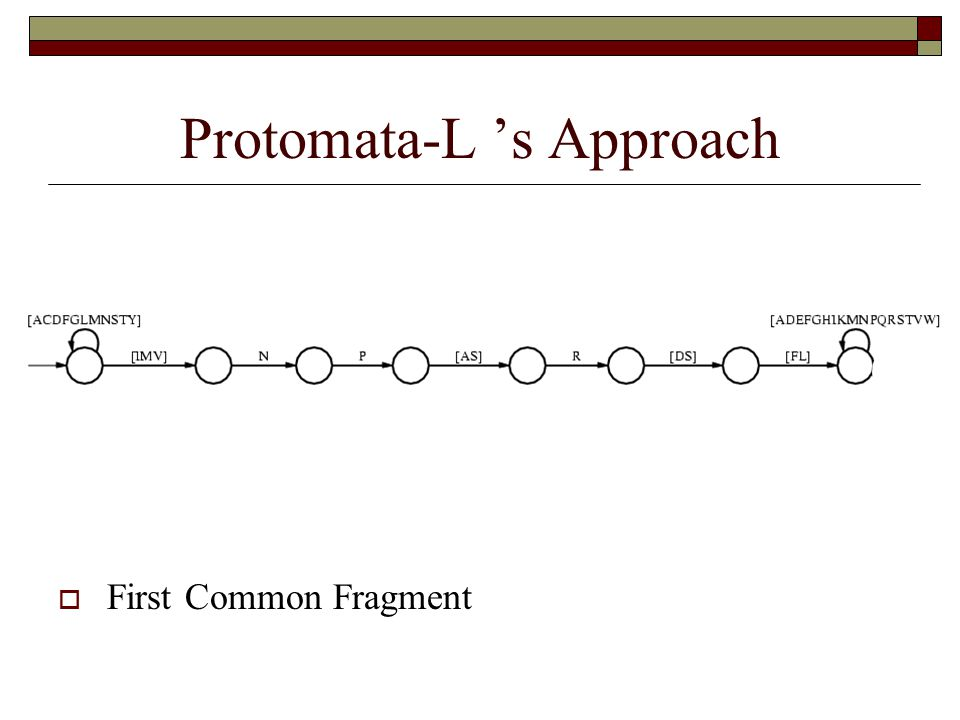Protomata-L 's Approach  First Common Fragment
