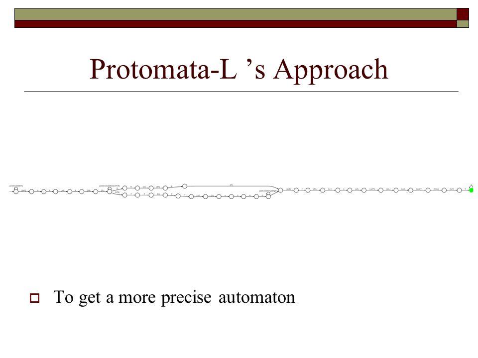 Protomata-L 's Approach  To get a more precise automaton