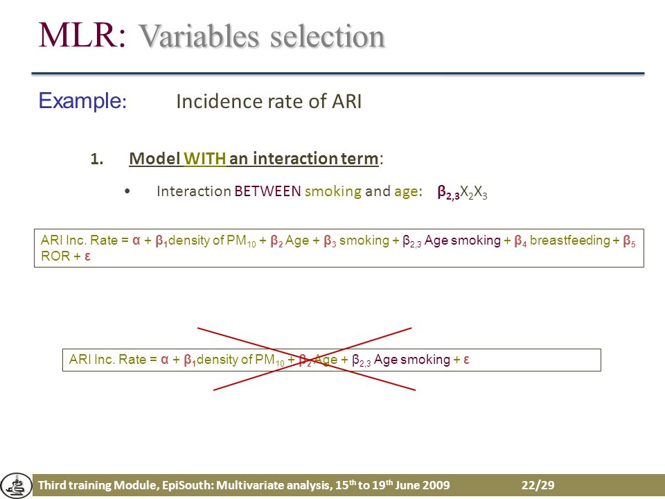 Third training Module, EpiSouth: Multivariate analysis, 15 th to 19 th June 2009 22/29 Variables selection MLR: Variables selection Example : Incidenc