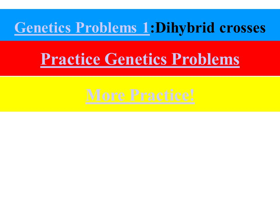 Genetics Problems 1Genetics Problems 1:Dihybrid crosses Practice Genetics Problems More Practice!