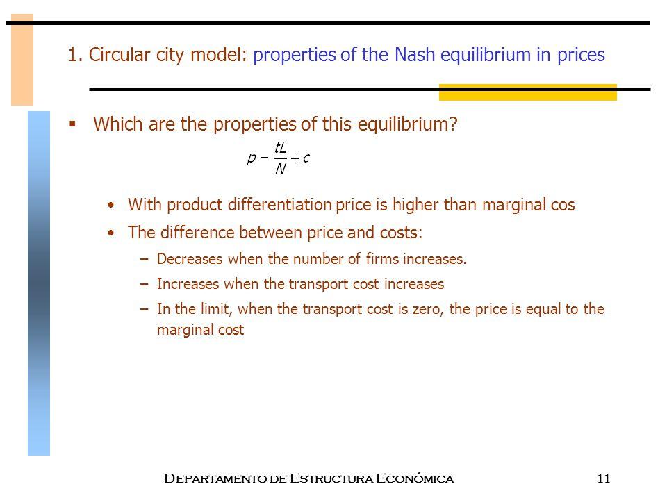 Departamento de Estructura Económica11 1. Circular city model: properties of the Nash equilibrium in prices  Which are the properties of this equilib