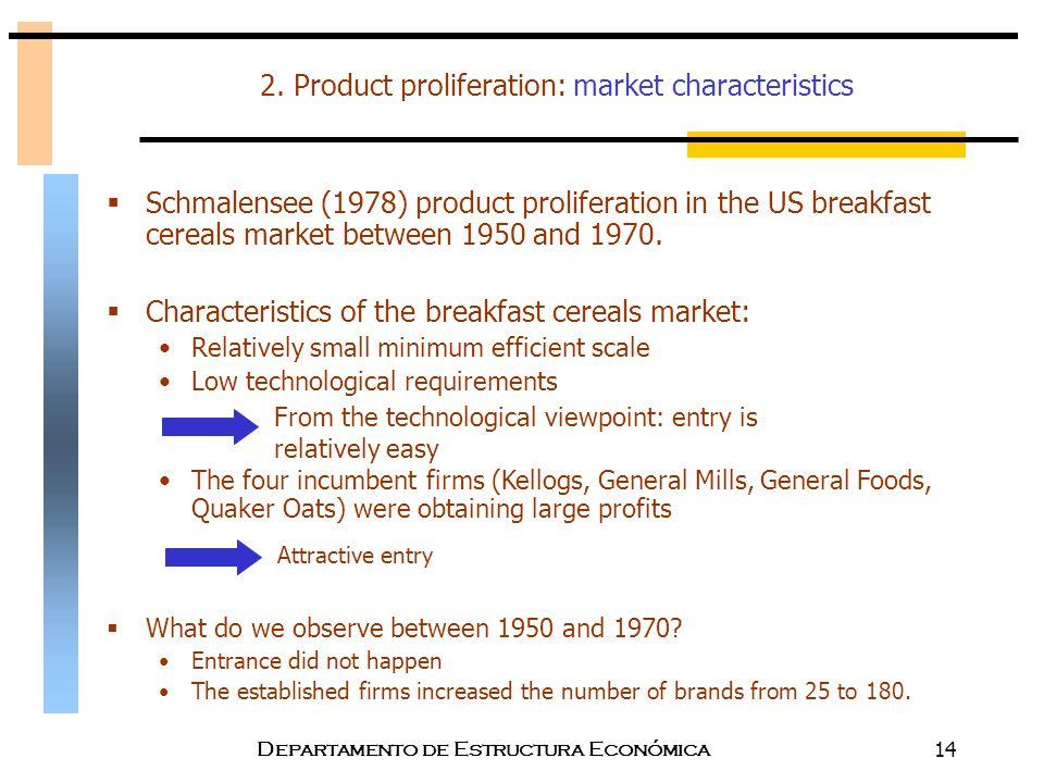Departamento de Estructura Económica14 2. Product proliferation: market characteristics  Schmalensee (1978) product proliferation in the US breakfast