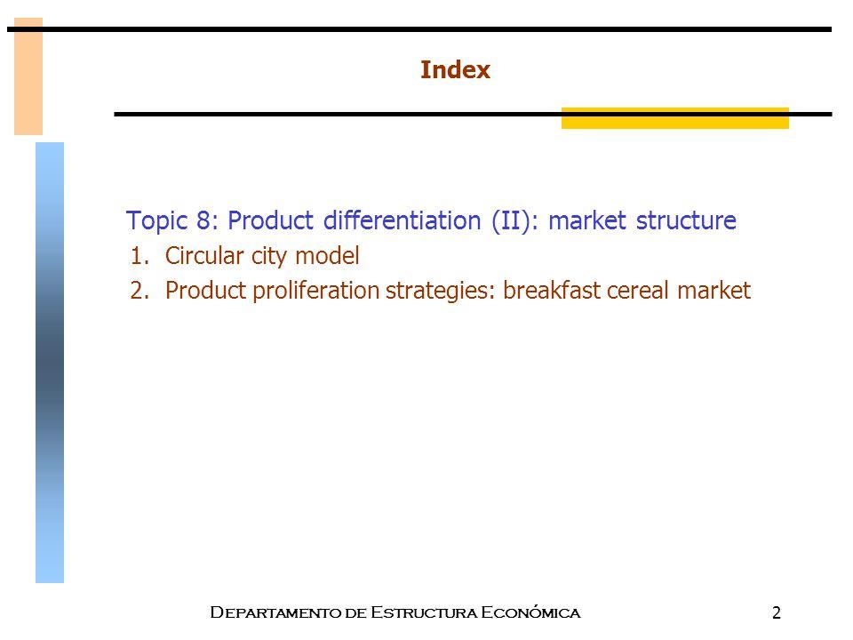 Departamento de Estructura Económica2 Index Topic 8: Product differentiation (II): market structure 1.Circular city model 2.Product proliferation stra
