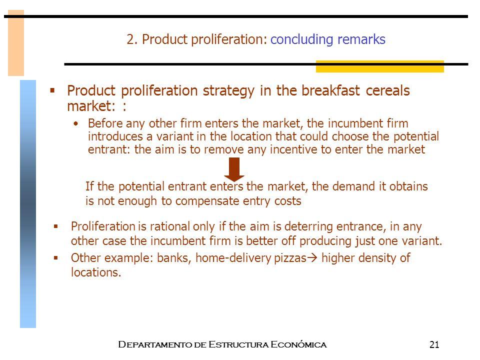 Departamento de Estructura Económica21 2. Product proliferation: concluding remarks  Product proliferation strategy in the breakfast cereals market: