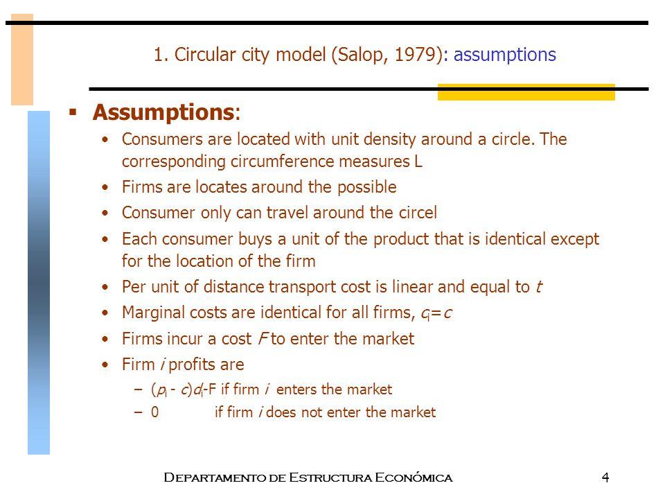 Departamento de Estructura Económica4 1. Circular city model (Salop, 1979): assumptions  Assumptions: Consumers are located with unit density around