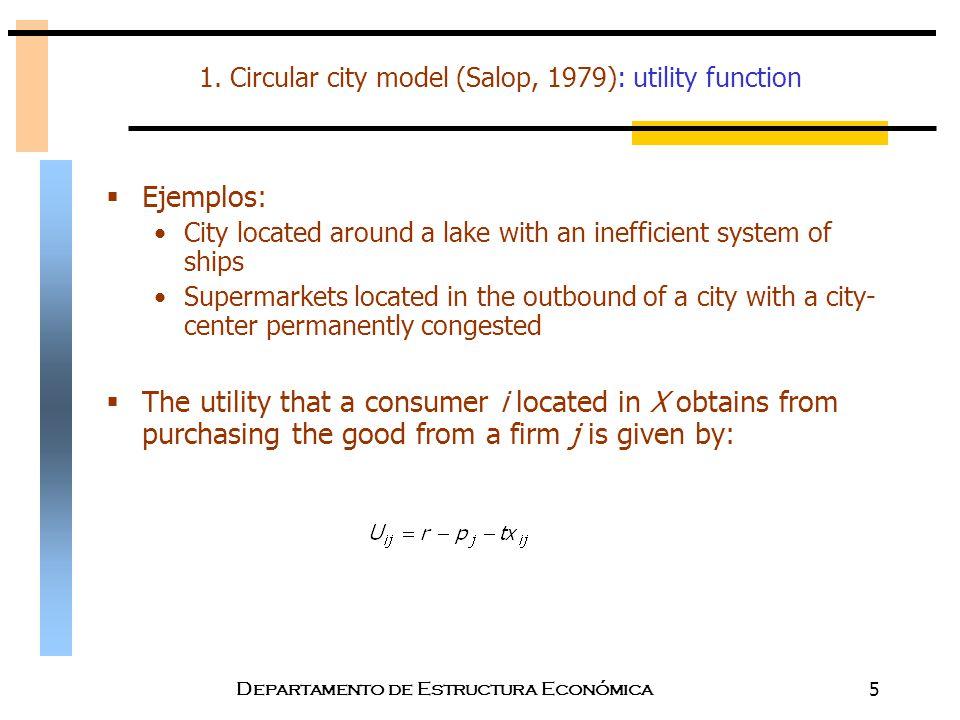 Departamento de Estructura Económica5 1. Circular city model (Salop, 1979): utility function  Ejemplos: City located around a lake with an inefficien