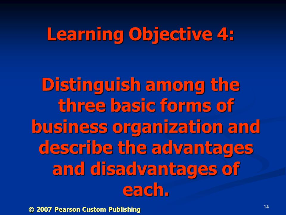 14 Learning Objective 4: Distinguish among the three basic forms of business organization and describe the advantages and disadvantages of each.