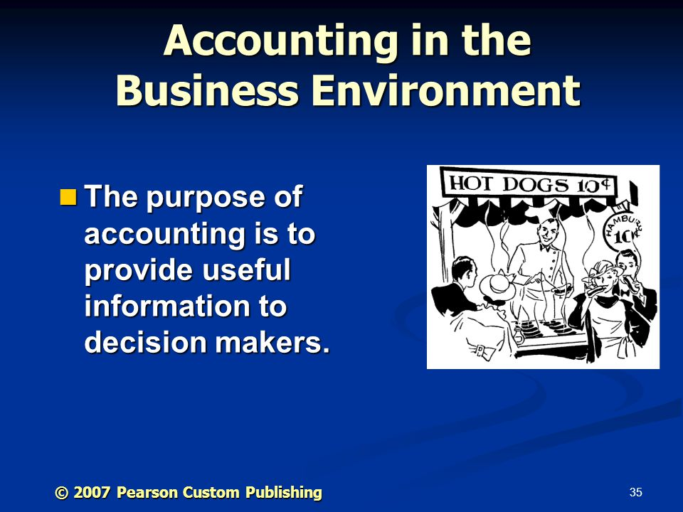 35 © 2007 Pearson Custom Publishing Accounting in the Business Environment The purpose of accounting is to provide useful information to decision makers.