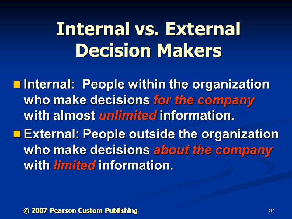 37 © 2007 Pearson Custom Publishing Internal vs.