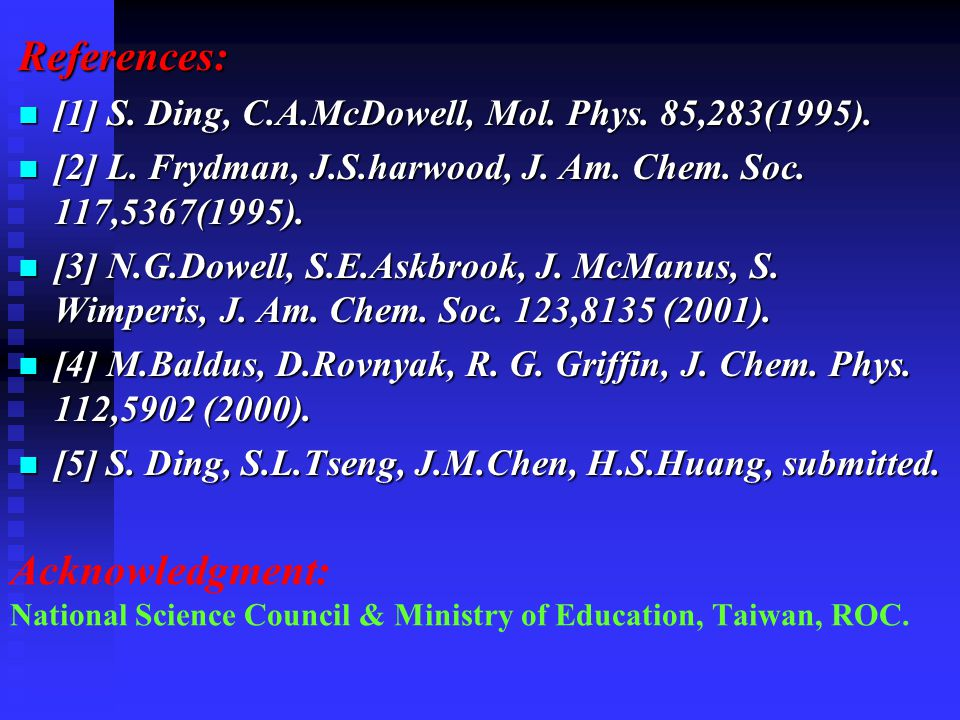 Acknowledgment: National Science Council & Ministry of Education, Taiwan, ROC. References: [1] S. Ding, C.A.McDowell, Mol. Phys. 85,283(1995). [1] S.