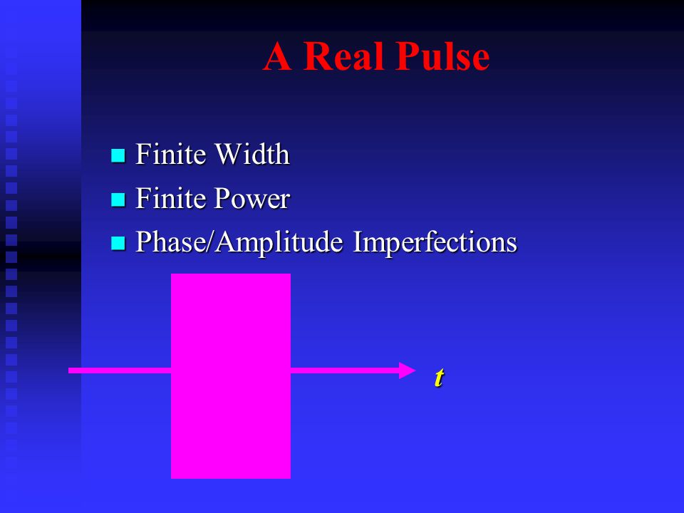 A Real Pulse Finite Width Finite Width Finite Power Finite Power Phase/Amplitude Imperfections Phase/Amplitude Imperfections t