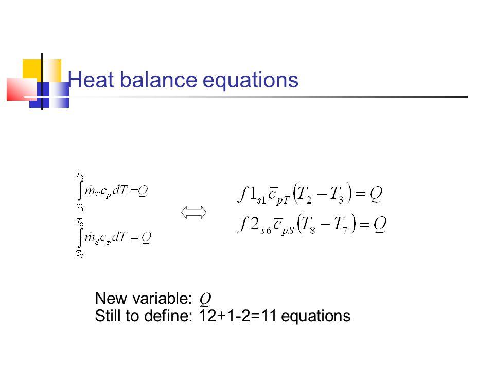 Heat balance equations New variable: Q Still to define: 12+1-2=11 equations