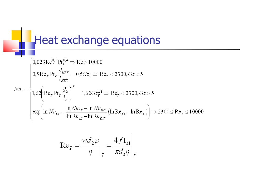 Heat exchange equations