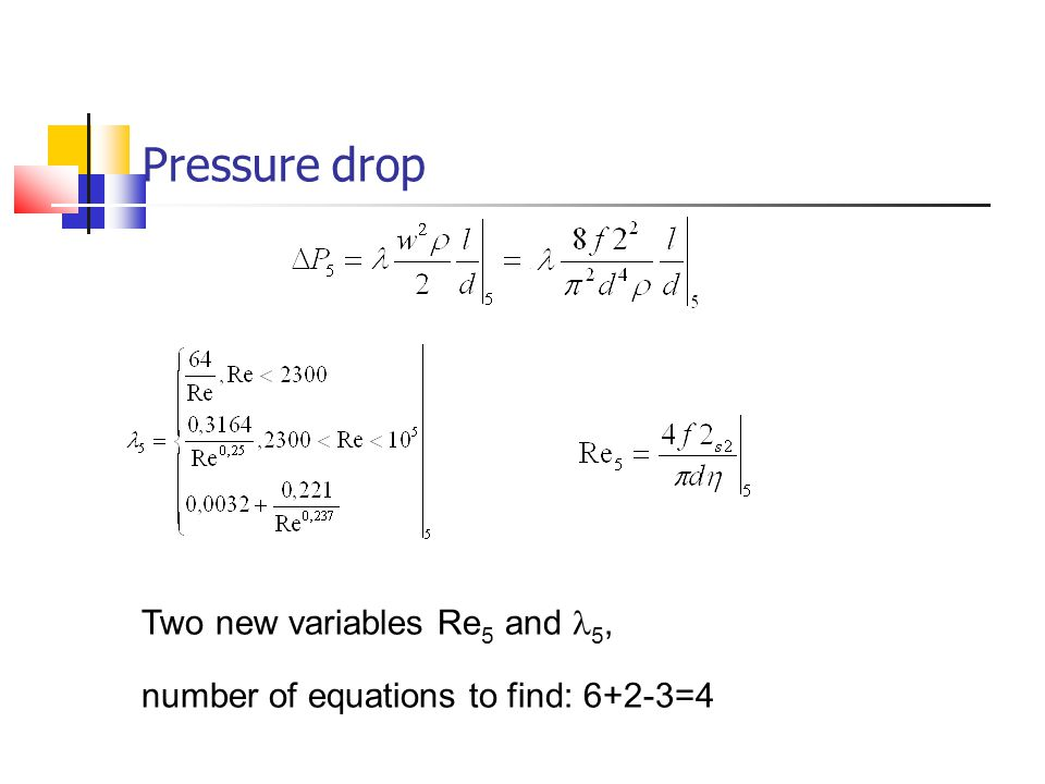 Pressure drop Two new variables Re 5 and 5, number of equations to find: 6+2-3=4