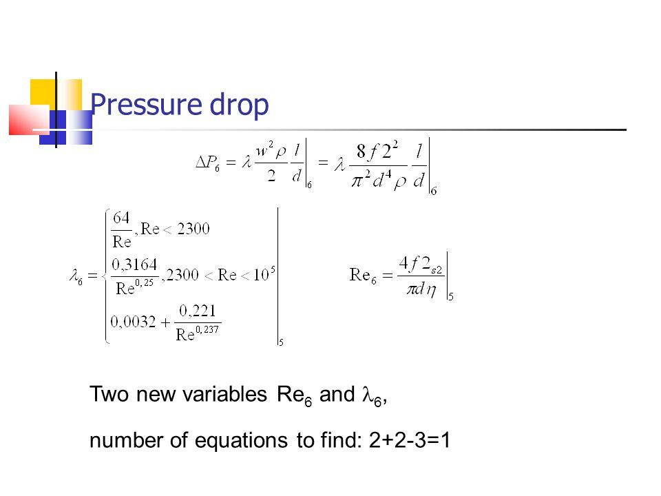 Pressure drop Two new variables Re 6 and 6, number of equations to find: 2+2-3=1