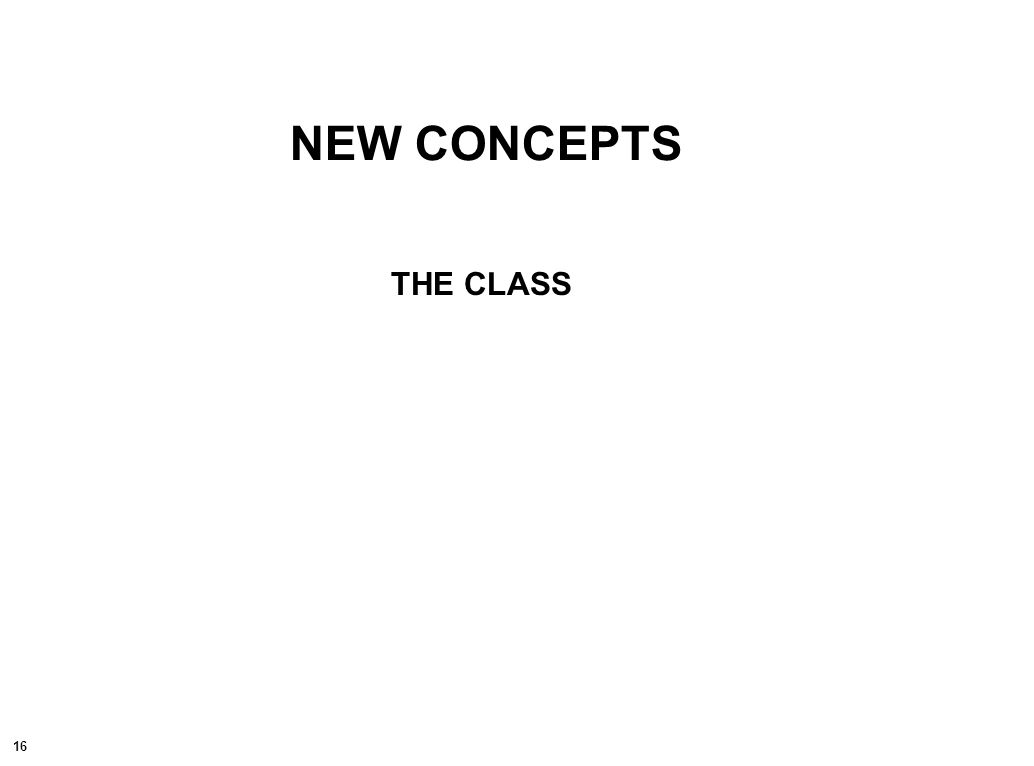 16 NEW CONCEPTS THE CLASS