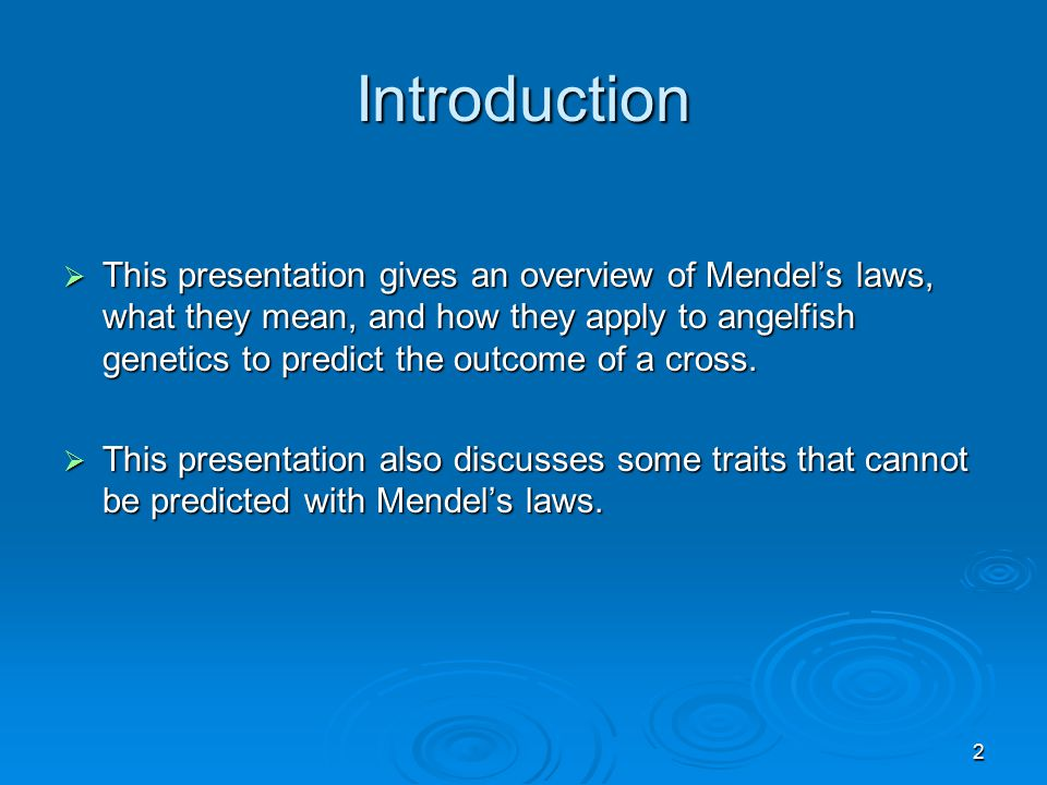2 Introduction  This presentation gives an overview of Mendel's laws, what they mean, and how they apply to angelfish genetics to predict the outcome of a cross.