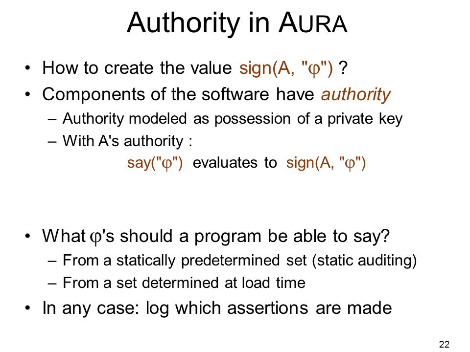 22 Authority in A URA How to create the value sign(A,  ) .