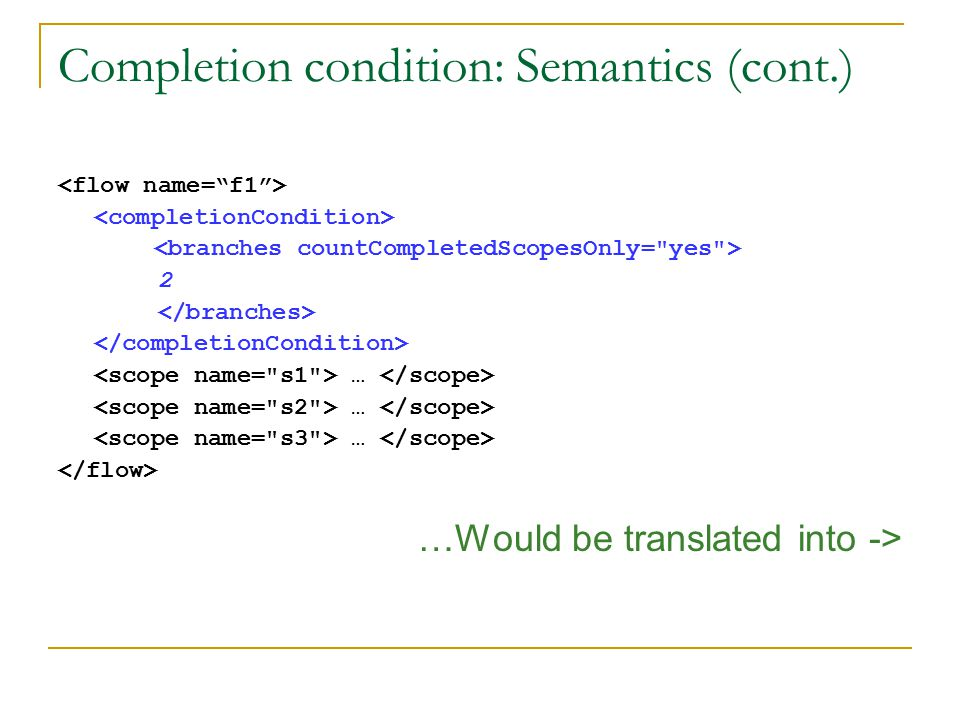 Completion condition: Semantics (cont.) 2 … …Would be translated into ->