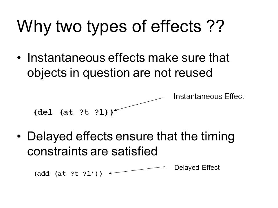 Why two types of effects ?? Instantaneous effects make sure that objects in question are not reused Delayed effects ensure that the timing constraints
