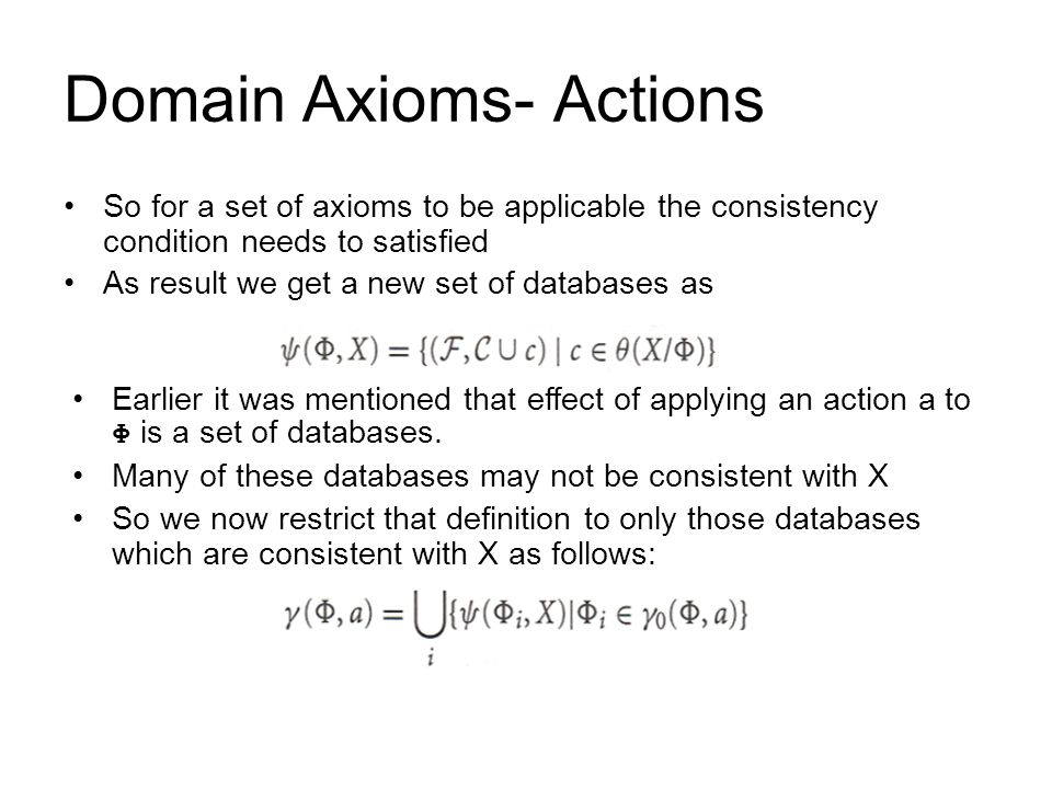 Domain Axioms- Actions So for a set of axioms to be applicable the consistency condition needs to satisfied As result we get a new set of databases as