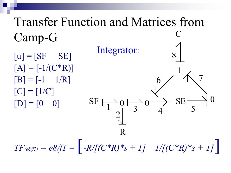 Transfer Function and Matrices from Camp-G [u] = [SF SE] [A] = [-1/(C*R)] [B] = [-1 1/R] [C] = [1/C] [D] = [0 0] TF (e8/f1) = e8/f1 = [ -R/[(C*R)*s + 1] 1/[(C*R)*s + 1] ] SF R SE C Integrator: 00 0 1 1 2 3 4 5 6 7 8