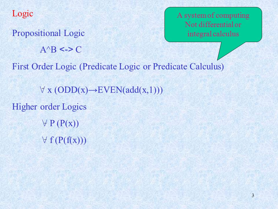 3 Logic Propositional Logic A^B C First Order Logic (Predicate Logic or Predicate Calculus) A system of computing Not differential or integral calculus \/ x (ODD(x)→EVEN(add(x,1))) Higher order Logics \/ P (P(x)) \/ f (P(f(x)))