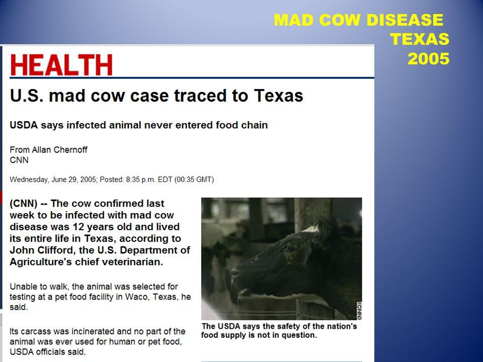 MAD COW DISEASE TEXAS 2005