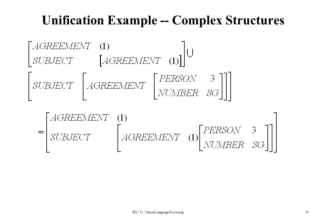 BİL711 Natural Language Processing16 Unification Example -- Complex Structures